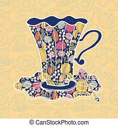 Tea time background. Vector illustration of teacup on yellow background