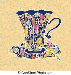 Teacup background - Tea time background. Vector illustration...