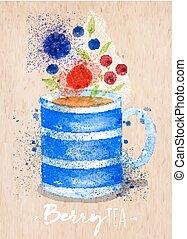 Teacup berry kraft - Watercolor teacup with tea, berry,...