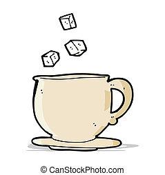 teacup, blokje, spotprent, suiker