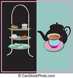 teacup, fond, vendange, tea-party, vecteur, thé après-midi, ...