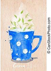 Teacup green tea kraft - Watercolor teacup with green tea ...