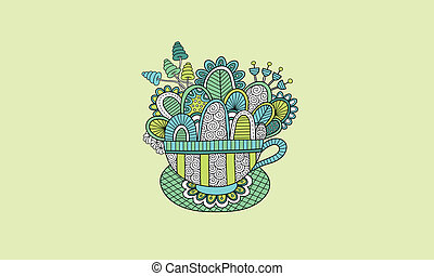 Teacup Hand Drawn Doodle Green