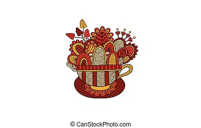 Teacup Hand Drawn Doodle Vector