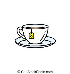 Teacup line icon. Porcelain Tea cup saucer symbol with...