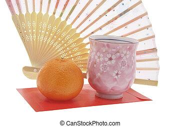 teacup, mandarín, ventilador papel