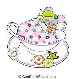 Teacup Mouse - A little grey mouse and his teddy bear are...