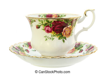 Teacup - A classic gold-rimmed floral china teacup and...
