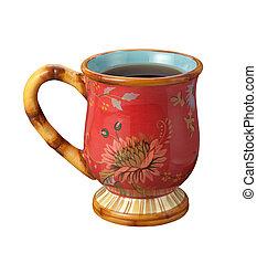 teacup, vrijstaand, op wit