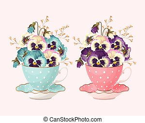 Teacup with pansies - Vector illustration of vintage teacup...