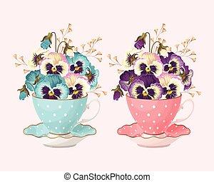 Teacup with pansies - Vector illustration of vintage teacup...