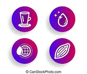 Teacup, World water and Water drop icons set. Cocoa nut...