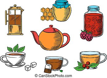 Teacups, dessert and teapots icons - Tea icons with jars,...