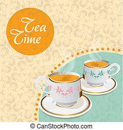 teacups floral background
