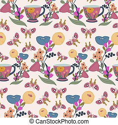 Teacups, flowers and butterflies in a seamless pattern design