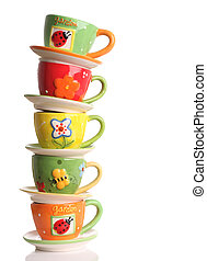Teacups - Stack of colorful teacups.