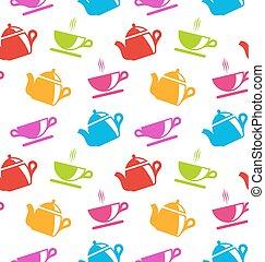 teacups, teiere, struttura, seamless