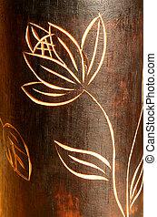 teak, fleur, texture bois, découpage