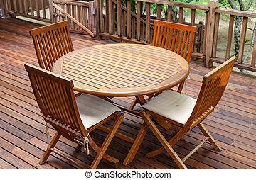 teak, muebles, madera, terraza, estante