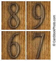 Teak wood 6-9 blocks with letters and numbers.