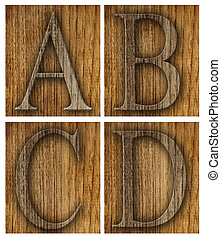 Teak wood A-D blocks with letters and numbers.