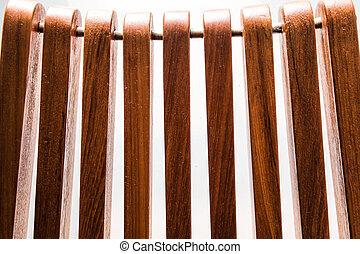 teak wood backrest close up detail