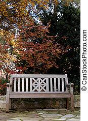 Teak Wood Bench in Fall Portrait