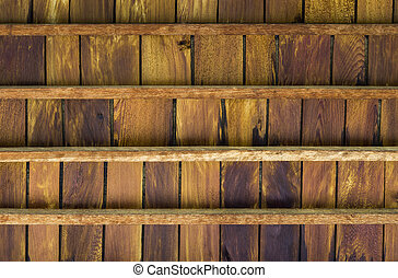Closeup texture of old teak wood ceiling
