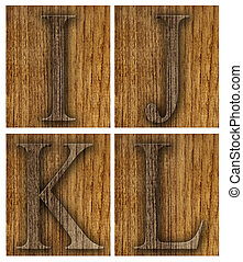 Teak wood I-L blocks with letters and numbers.