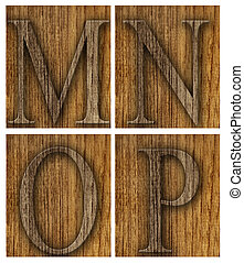 Teak wood M-P blocks with letters and numbers.