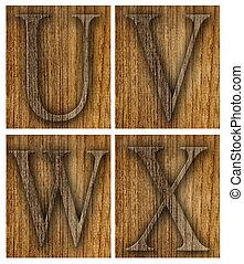 Teak wood U-X blocks with letters and numbers.