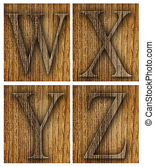 Teak wood W-Z blocks with letters and numbers.