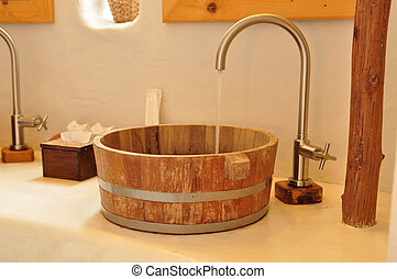 Teak wood wash basin