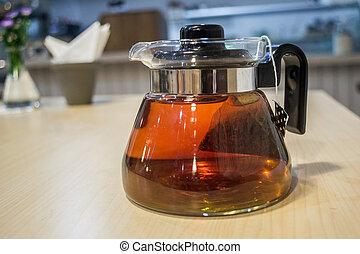 Teakettle - A simply teakettle full with hot tea inside.