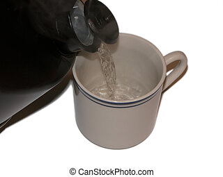 TeaKettle pour - Teakettle pour hot water into a mug with a...