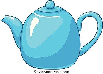 Teakettle, Vector cartoon blue teapot isolated on white background
