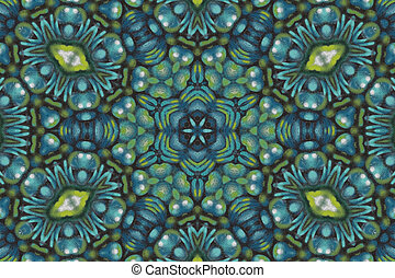 Teal and green mandala background