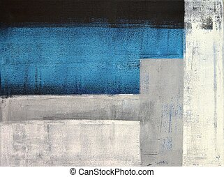 Teal and Grey Abstract Art Painting - This image is of an...