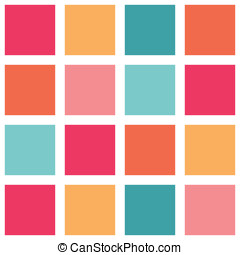 Teal and Orange Colorful Tiled Pattern repeating vector