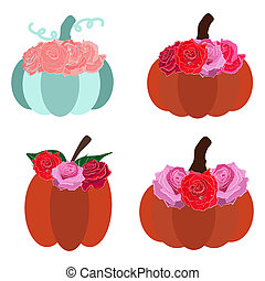 Teal and orange Pumpkin set with floral decor. Red roses decoration on fall pumpkins. Isolated on white background.