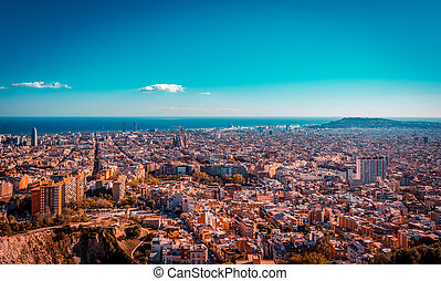 Teal and orange view of Barcelona from the Carmel bunkers viewpoint