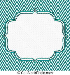 Teal and White Chevron Zigzag Frame Background with center...