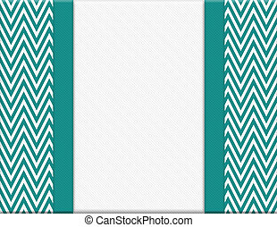 Teal and White Chevron Zigzag Frame with Ribbon Background...