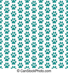 Teal and White Dog Paw Prints Tile Pattern Repeat Background...