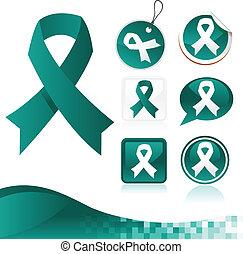 Teal Awareness Ribbons Kit - Set of teal awareness ribbons