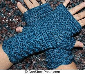 Teal Blue Crochet Fingerless Mitten