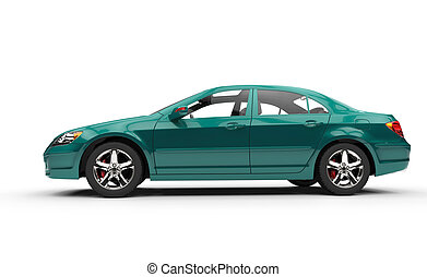 Teal Business Car Side View