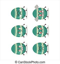 Teal easter egg cartoon character with various angry expressions