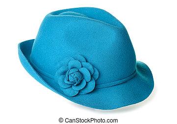 Teal felt hat - a teal blue felt hat with a flower on it.