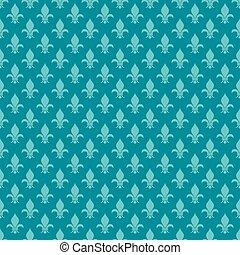Teal fleur de lis vector seamless pattern
